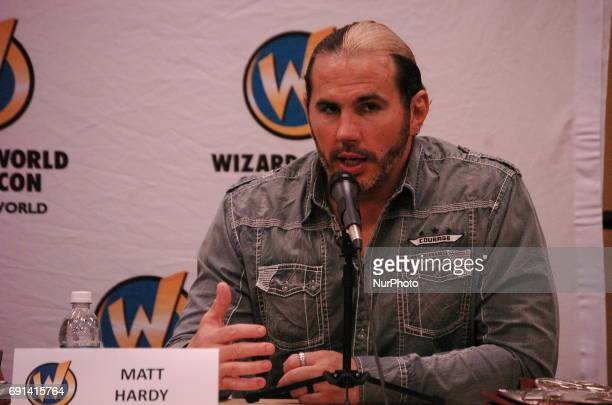 WWE Superstar Matt Hardy of the tag team duo the Hardy Boyz takes questions from fans during a question and answer session as part of Wizard World...