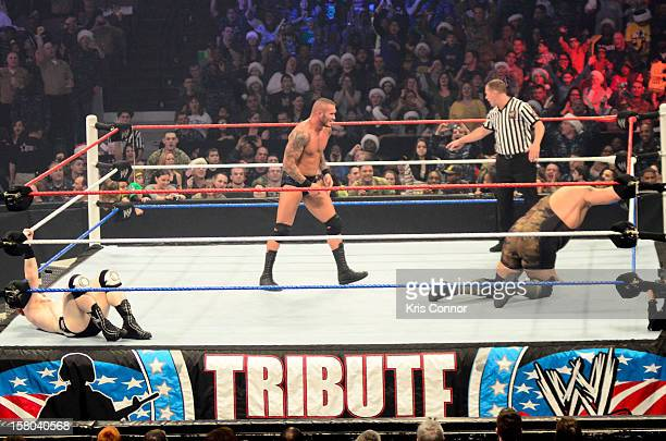 Superstar Randy Orton and WWE Superstar Big Show perform during the 10th anniversary of WWE Tribute to the Troops at Norfolk Scope Arena on December...