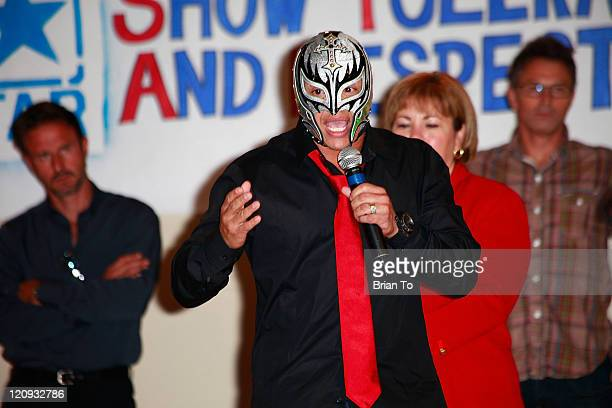 Superstar Rey Mysterio and congresswoman Linda Sanchez attend the Creation Coalition and WWE hosts 'Be A Star' antibullying initiative rally at Algin...