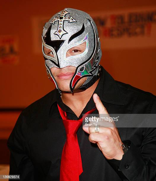 Superstar Rey Mysterio attends the Creation Coalition and WWE hosts 'Be A Star' antibullying initiative rally at Algin Sutton Community Center on...