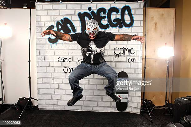 WWE Superstar Rey Mysterio poses for a portait in the WireImage Portrait Gallery at ComicCon hosted by Connected Kenneth Cole Reaction and presented...