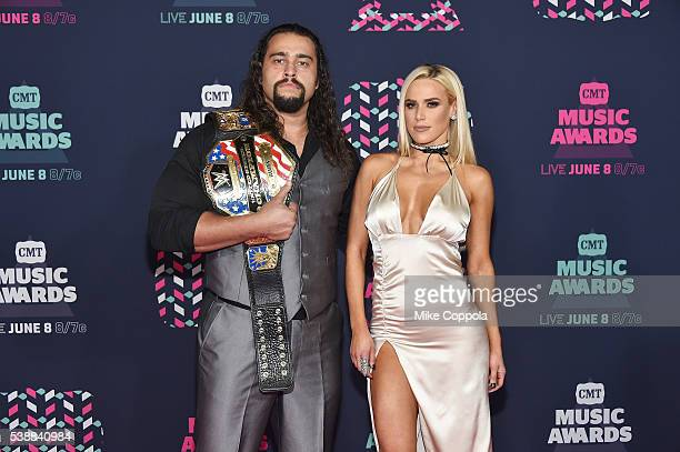 Superstar Rusev and WWE Superstar Lana attends the 2016 CMT Music awards at the Bridgestone Arena on June 8 2016 in Nashville Tennessee