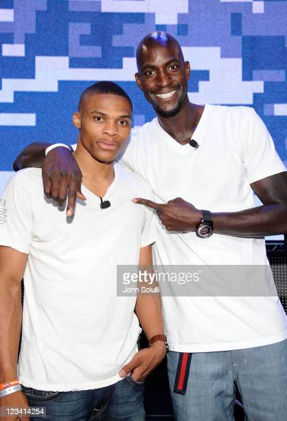 Superstar Russell Westbrook and NBA Champion Kevin Garnett battle it out at FirstEver Call of Duty XP at the Stages at Playa Vista on September 2...
