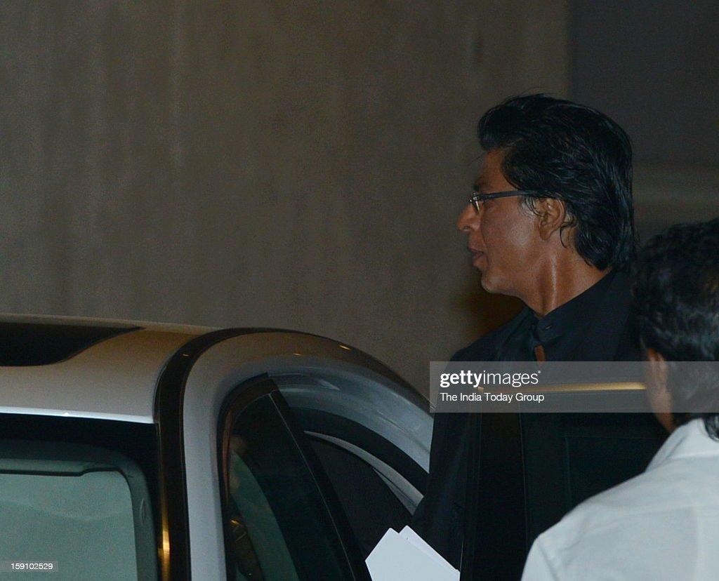 Superstar Shah Rukh Khan at Mukesh Ambani niece's engagement party at Antilla in Mumbai on Saturday, January 5, 2013.