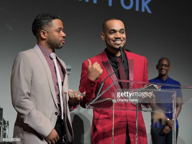 Superstar Storyteller Award winners Quincy LeNear Gossfield and Deondray Gossfield attend AIDS Healthcare Foundation iNHale Entertainment Partner To...