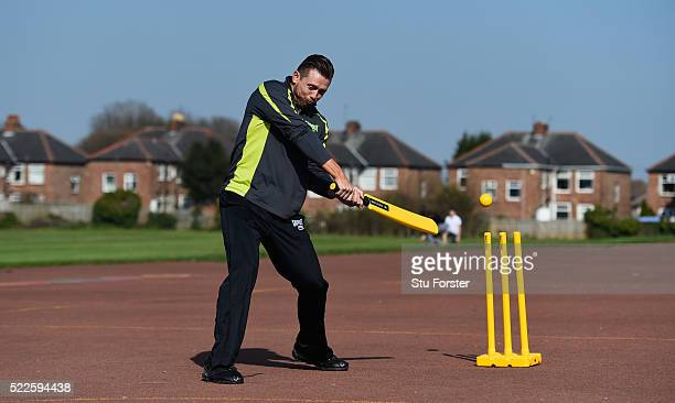 WWE superstar The Miz faces a ball bowled by England cricketer Ben Stokes at a Chance to Shine coaching session at Ravenswood primary school on April...