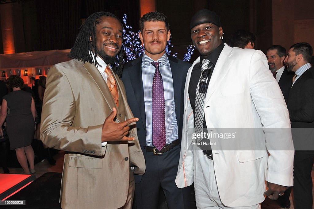 WWE Superstars Kofi Kingston, Docy Rhodes and R-Truth attends WWE Superstars for Sandy Relief at Cipriani, Wall Street on April 4, 2013 in New York City.