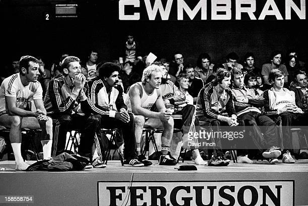 Superstars seated are Alan Minter John Sherwood Daley Thompson Brian Jacks 1st Danny Nightingale JJ Williams Geoff Hurst and Steve Assinder during a...