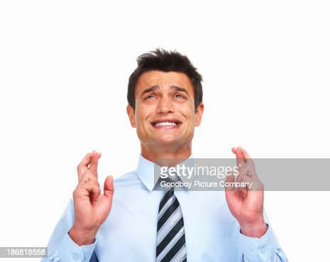 Superstitious businessman on white background