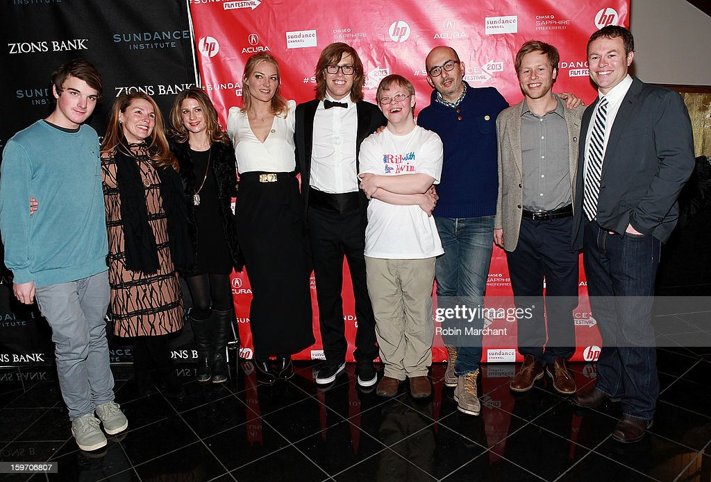 HBO supervising producer Sara Bernstein, Director Lucy Walker, American snowboarder Kevin Pearce, David Pearce, Julian Cautherley, Adam Pearce and Andrew Pearce attend 'The Crash Reel' Premiere at Rose Wagner Performing Arts Center on January 18, 2013 in Salt Lake City, Utah.
