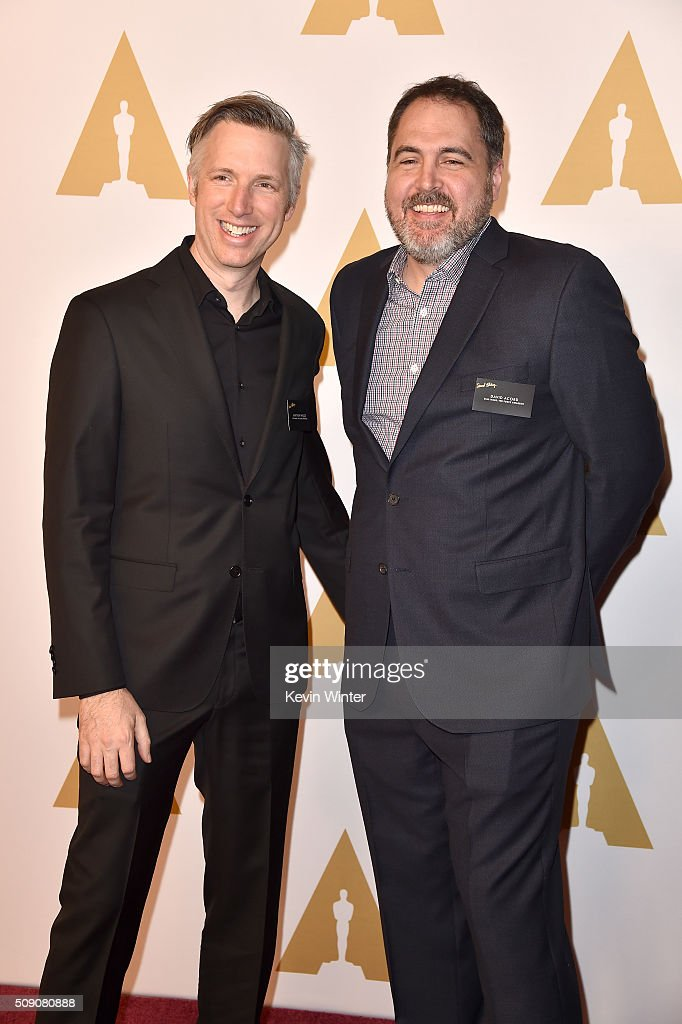 Supervising sound editors Matthew Wood (L) and <a gi-track='captionPersonalityLinkClicked' href=/galleries/search?phrase=David+Acord&family=editorial&specificpeople=5721223 ng-click='$event.stopPropagation()'>David Acord</a> attend the 88th Annual Academy Awards nominee luncheon on February 8, 2016 in Beverly Hills, California.