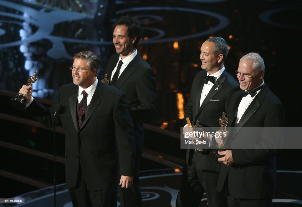 VFX supervisor Bill Westenhofer accepts the Best Visual Effects award for 'Life of Pi' onstage during the Oscars held at the Dolby Theatre on February 24, 2013 in Hollywood, California.
