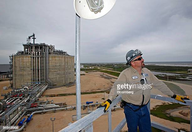 Supervisor Chad Horton takes a rest after climbing stairs up the side of a 160 foot tank Freeport LNG facility in Quintana Texas US on Wednesday...
