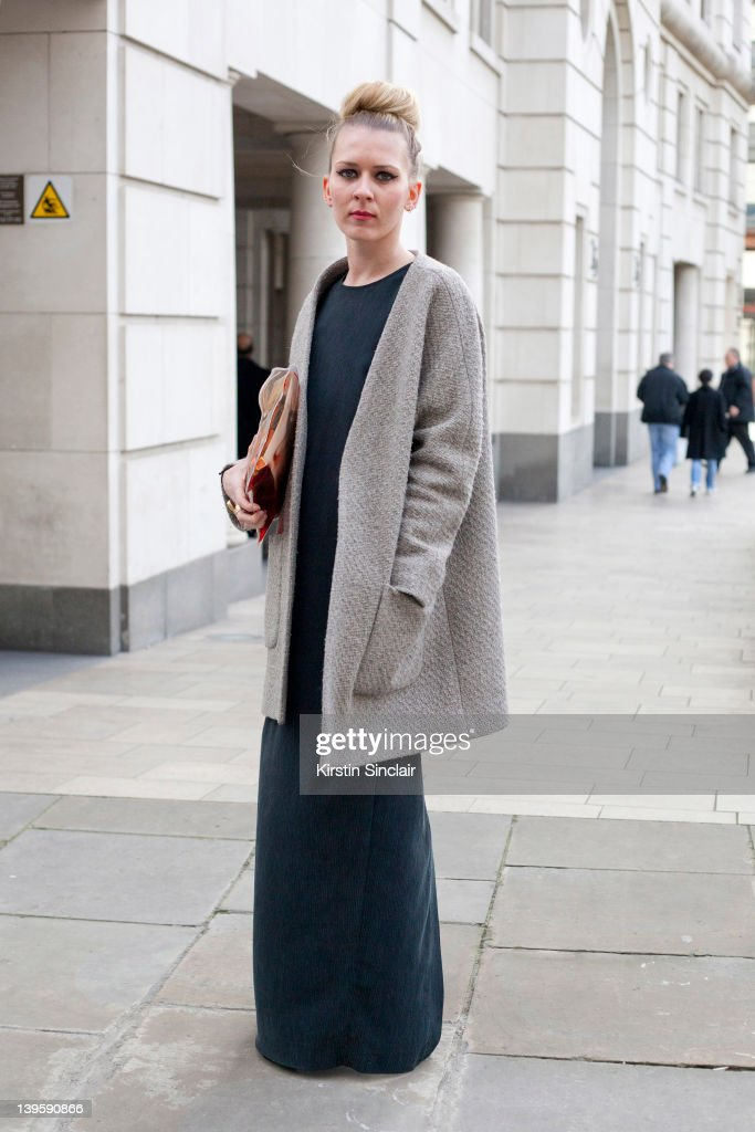 Supervisor Helen Robson wearing Christopher Kane bag and shoes Topshop Boutique jacket and dress street style at London fashion week autumn/winter...