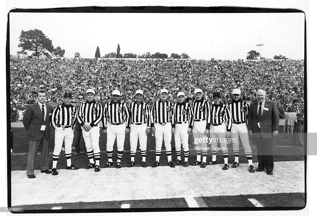 Supervisor of Officials Art McNally, Pat Haggerty, Tom Hensley, Leo Miles, Ray Dodez, Tom Kelleher, Bill Quinby, Bob Lewis, Jerry Markbreit, Bob Boylston and assistant supervisor of officials Jack Reader pose for a photo before Super Bowl XIX between the Miami Dolphins and San Francisco 49ers at Stanford Stadium on January 20, 1985 in Stanford, California. The Niners defeated the Dolphins 38-16.