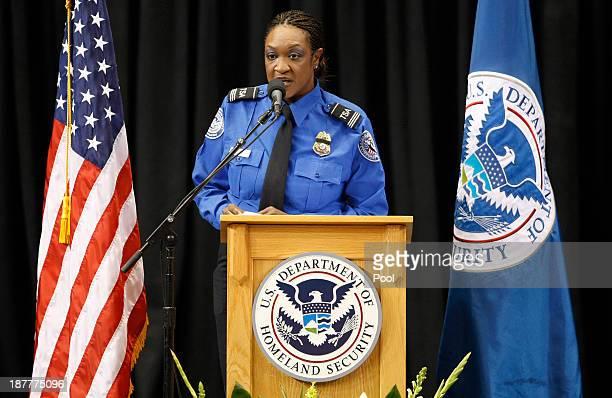 Supervisory Officer Sheleta Fraser served as emcee during a public memorial for Transportation Security Administration officer Gerardo Hernandez at...
