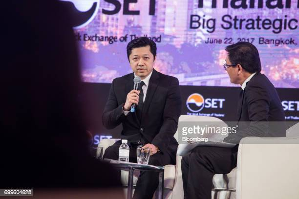 Suphachai Chearavanont chief executive of Charoen Pokphand Group Co left speaks during the Thailand's Big Strategic Move forum in Bangkok Thailand on...