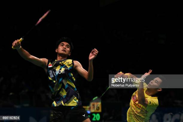 Suppanyu Avihingsanon of Thailand competes against Panji Ahmad Maulana of Indonesia during Mens single qualification round match of the BCA Indonesia...