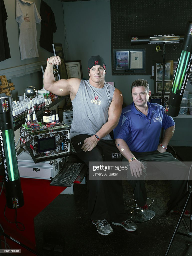 Portrait of Mitch Ross (L) and Chris Key during photo shoot at their S.W.A.T.S. Health & Fitness Center. Their company, Sports with Alternatives to Steroids, sells holographic stickers, deer antler velvet, and negatively charged water. Athletes have been linked to using these products, some of which contain IGF-1 which is banned by collegiate and professional sports. Jeffery A. Salter X156057 TK1 R1 F6 )
