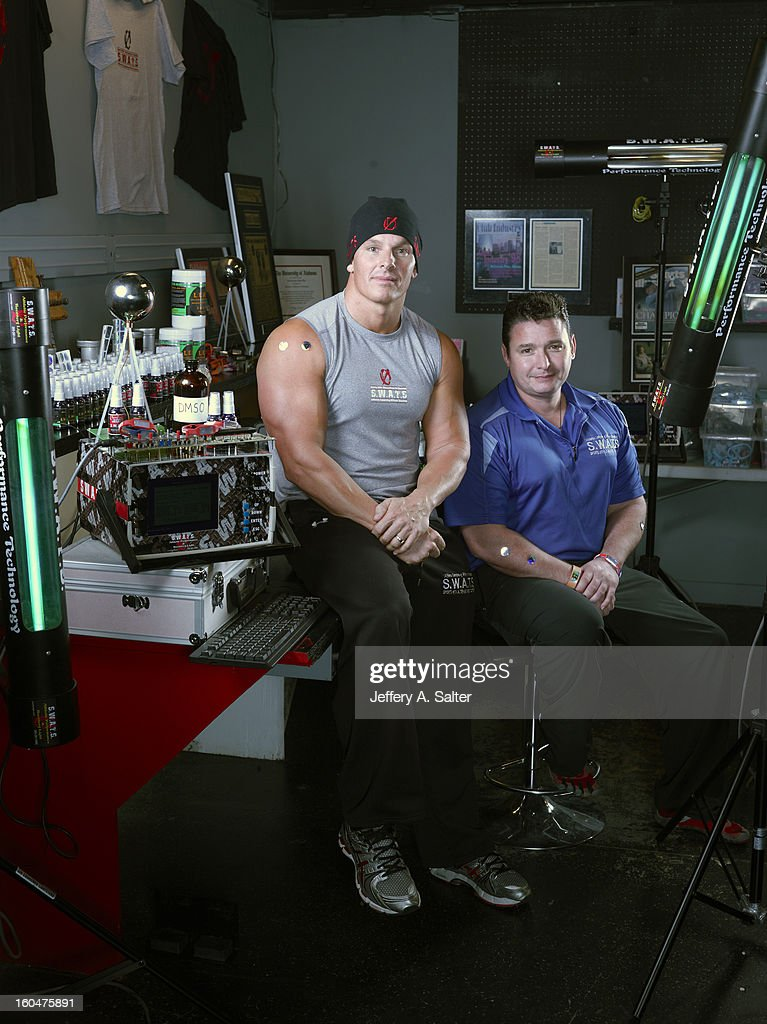 Portrait of Mitch Ross (L) and Chris Key during photo shoot at their S.W.A.T.S. Health & Fitness Center. Their company, Sports with Alternatives to Steroids, sells holographic stickers, deer antler velvet, and negatively charged water. Athletes have been linked to using these products, some of which contain IGF-1 which is banned by collegiate and professional sports. Jeffery A. Salter X156057 TK1 R1 F3 )