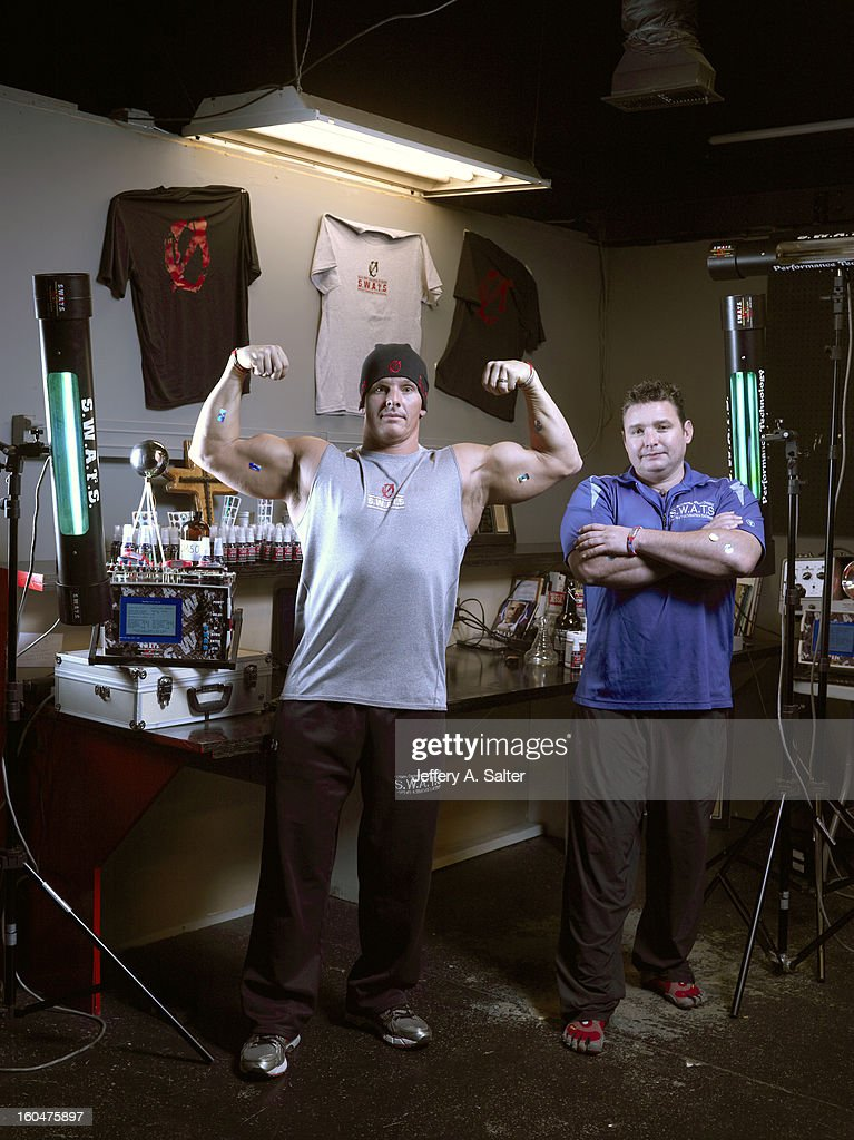 Portrait of Mitch Ross (L) and Chris Key during photo shoot at their S.W.A.T.S. Health & Fitness Center. Their company, Sports with Alternatives to Steroids, sells holographic stickers, deer antler velvet, and negatively charged water. Athletes have been linked to using these products, some of which contain IGF-1 which is banned by collegiate and professional sports. Jeffery A. Salter X156057 TK1 R1 F23 )