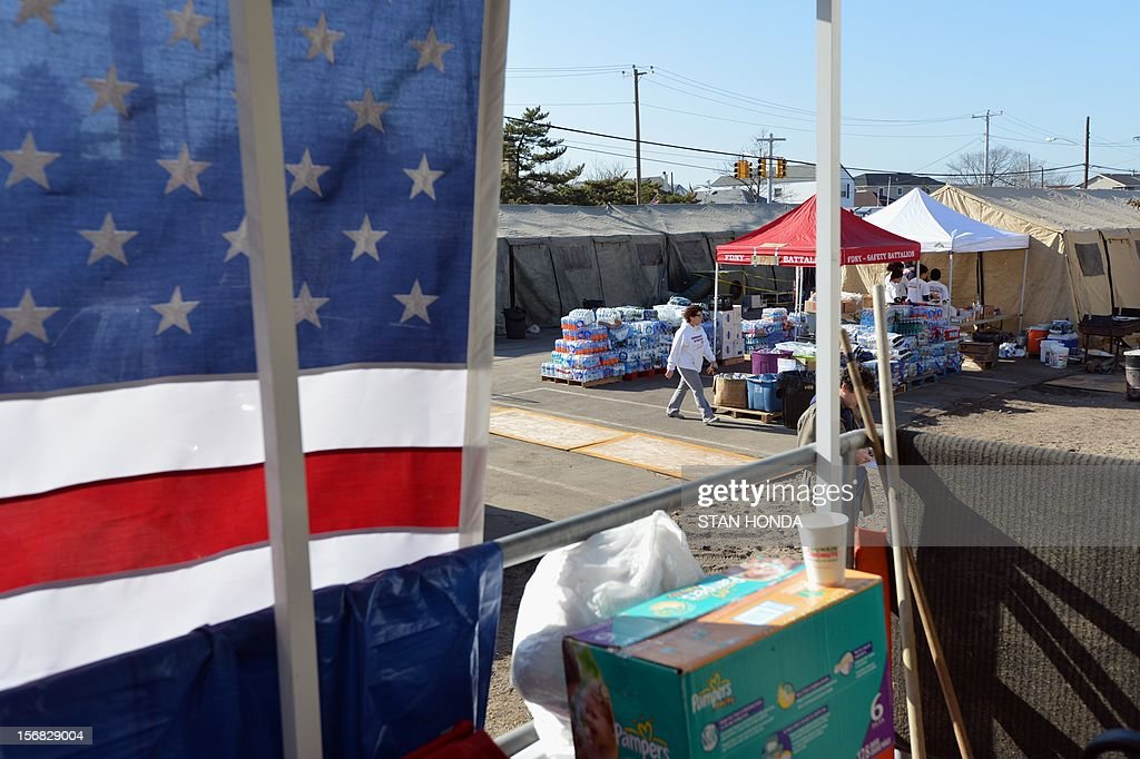 Supplies and tents for feeding people in the Breezy Point neighborhood in the Rockaways section of Queens as November 22, 2012 in New York as the city recovers from the effects of superstorm Sandy. AFP PHOTO/Stan HONDA