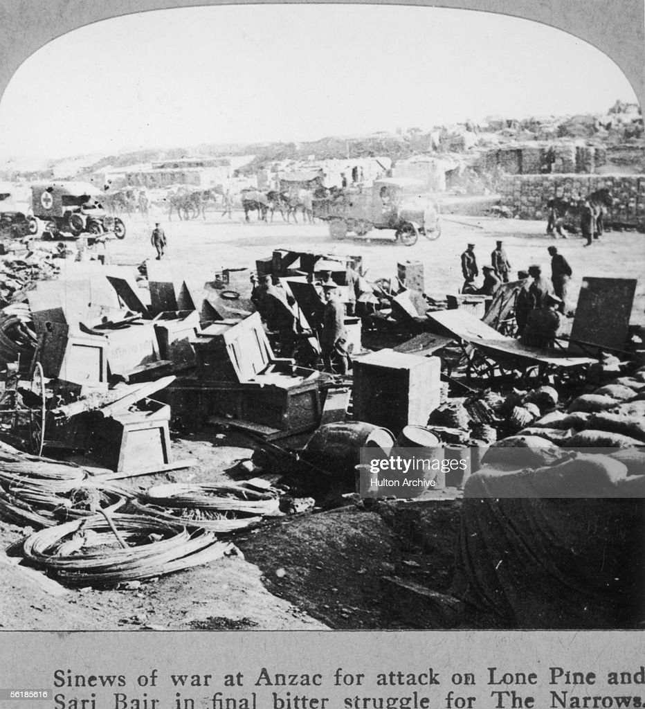 Supplies are amassed at Anzac Cove Turkey prior to the allied attacks on Lone Pine and Sari Bair during the Gallipoli campaign August 1915
