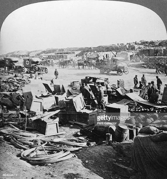 Supplies landed at Suvla Bay Turkey Gallipoli landings World War I 1915 Sinews of war at Sulva Bay transported thousands of miles by our Merchant...