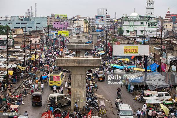 Support columns for a flyover stand under construction on a road in Patna Bihar India on Friday July 10 2015 Anyone placing bets on whether Indian...