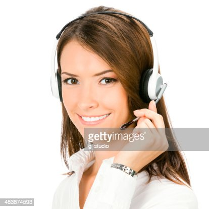 Support phone operator in headset, isolated : Stock Photo