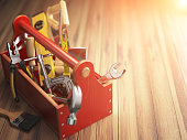 Support service concept. Toolbox with tools on wooden background. Construction. 3d illustration.