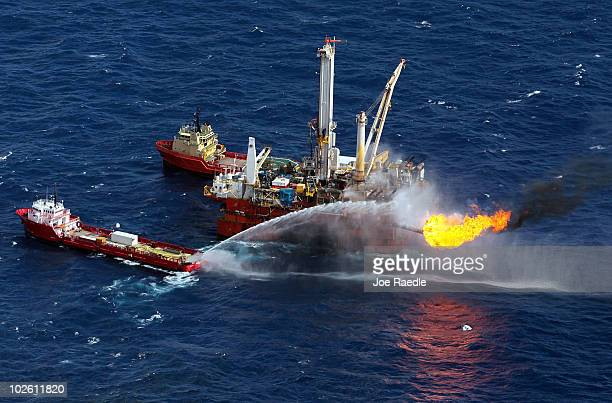 Support ships are seen near where efforts continue to recover oil and cap the Deepwater Horizon spill site on July 3 2010 in the Gulf of Mexico off...