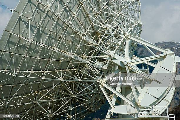 Support structures of a Parabolic antenna Satellite Land Earth Station Leuk Valais Switzerland