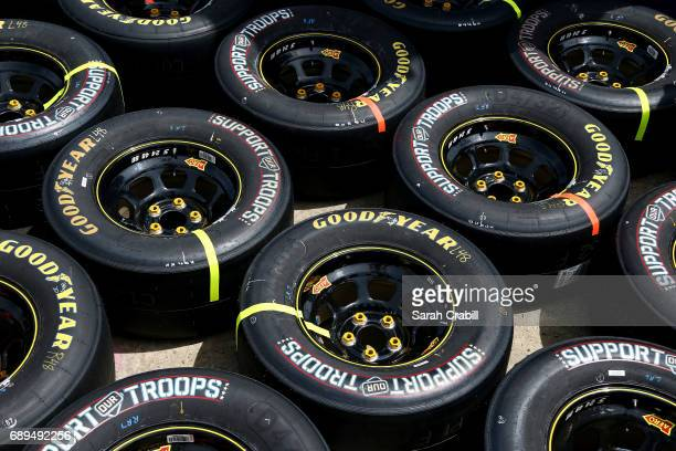 Support the Troops Goodyear tires are seen before the Monster Energy NASCAR Cup Series CocaCola 600 at Charlotte Motor Speedway on May 28 2017 in...