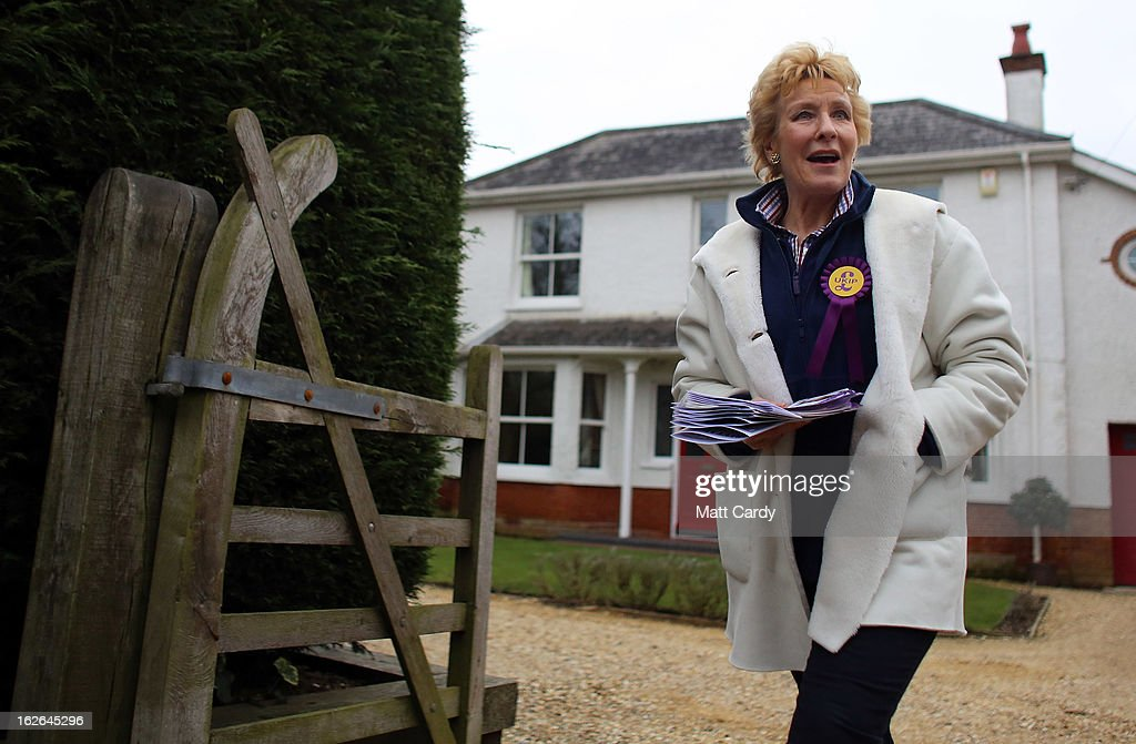 UKIP supporter Christine Hamilton knocks on doors in a street as she helps campaign for UKIP in the forthcoming by-election on February 25, 2013 in Eastleigh, England. The by-election is being fought for the former seat of ex-Liberal Democrat MP Chris Huhne and will be held on February 28, 2013.