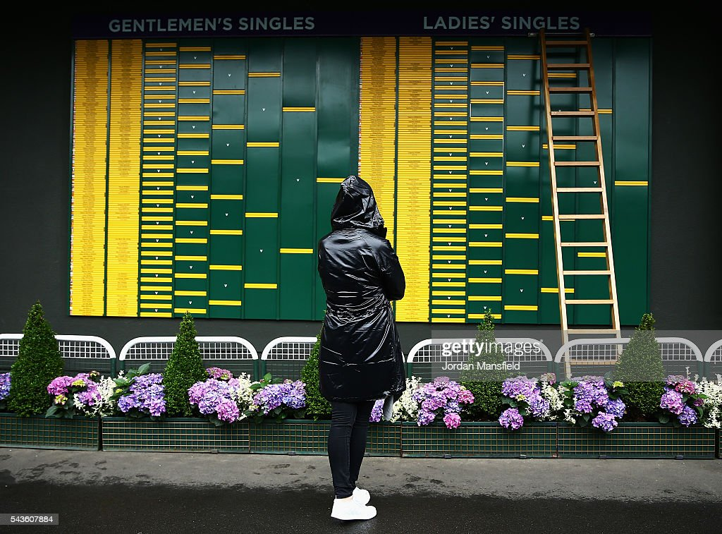A supporter covering themselves from the rain looks on at the fixtures and results board on day three of the Wimbledon Lawn Tennis Championships at the All England Lawn Tennis and Croquet Club on June 29, 2016 in London, England.