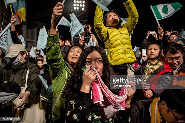 A supporter crys as they attend at DPP headquarters during Tsai Ingwen speach her election victory on January 16 2016 in Taipei Taiwan Tsai Ingwen...