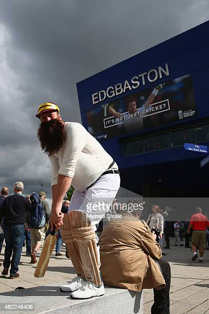 A supporter dressed as WG Grace takes his mark ahead of day one of the 3rd Investec Ashes Test match between England and Australia at Edgbaston on...
