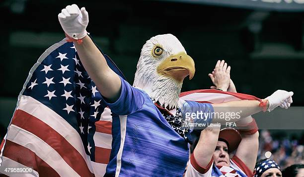A USA supporter dressed up as an eagle shows his support to his team during the FIFA Women's World Cup 2015 Final between USA and Japan at BC Place...