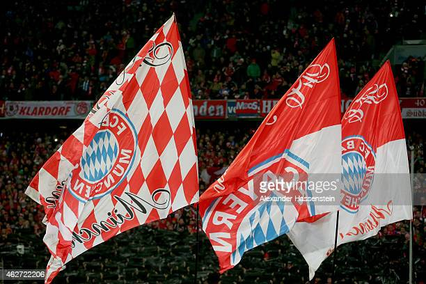 Supporter flags of Bayern Muenchen during the Bundesliga match between FC Bayern Muenchen and FC Schalke 04 at Allianz Arena on February 3 2015 in...