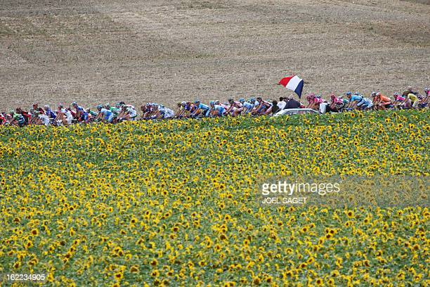 A supporter holds a French flag as he watches the pack riding by during the fourth stage of the 94th Tour de France cycling race between...