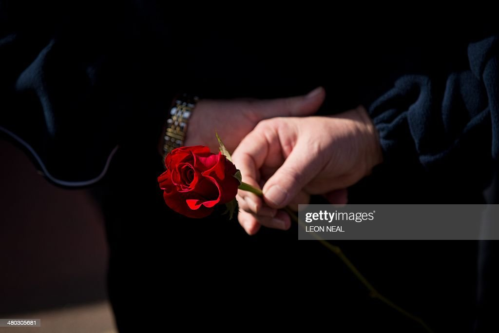 A supporter holds a red rose as the funeral cortege of RMT General Secretary Bob Crow arrives at City of London Cemetary and Crematorium on March 24...