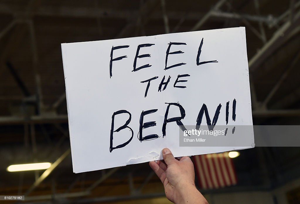 A supporter holds up a sign during a campaign rally by Democratic presidential candidate Sen. Bernie Sanders (I-VT) at Bonanza High School on February 14, 2016 in Las Vegas, Nevada. Sanders is challenging Hillary Clinton for the Democratic presidential nomination ahead of Nevada's Feb. 20 Democratic caucus.