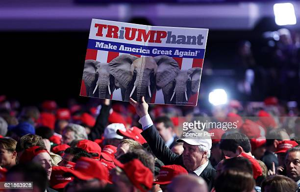 A supporter holds up a sign in support of Republican presidential nominee Donald Trump during the election night event at the New York Hilton Midtown...
