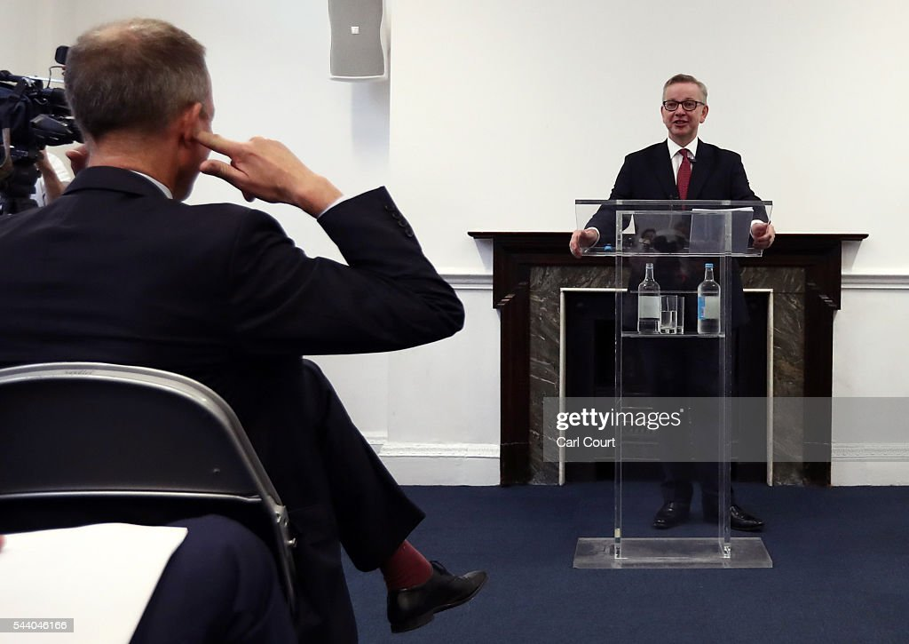 A supporter jokingly places his fingers in his ears as Justice Secretary <a gi-track='captionPersonalityLinkClicked' href=/galleries/search?phrase=Michael+Gove&family=editorial&specificpeople=2223709 ng-click='$event.stopPropagation()'>Michael Gove</a> speaks during a press conference to outline his bid for the Conservative Party leadership on July 1, 2016 in London, England. Mr Gove stated that his decision to stand for Conservative leader is driven by conviction about what is right for the United Kingdom rather than personal ambition.