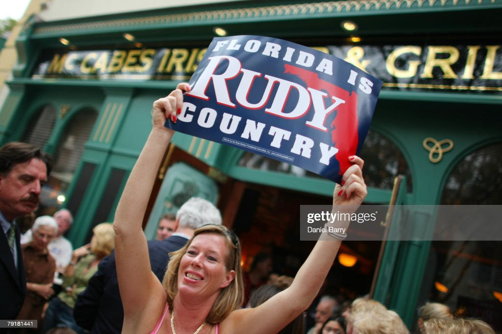 Supporter Kaila Thompson holds a sign for Republican presidential hopeful and former New York City Mayor Rudy Giuliani at McCabe's Irish Pub & Grill January 23, 2008 in Naples, Florida. Giuliani continues his campaign strategy of concentrating heavily on Florida ahead of the state's January 29 primary.