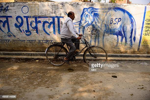 A supporter of Aam Aadmi Party after a rally on March 2 2014 in Kanpur India
