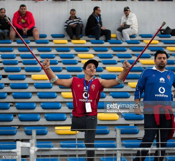 A supporter of Al Ahly is seen during the CAF African Champions League match between Wydad Casablanca and Al Ahly at the Stade Mohammed V in...