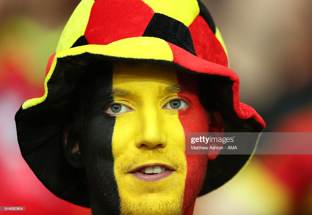 A supporter of Belgium prior to the UEFA Euro 2016 quarter final match between Wales and Belgium at Stade Pierre-Mauroy on July 1, 2016 in Lille, France.