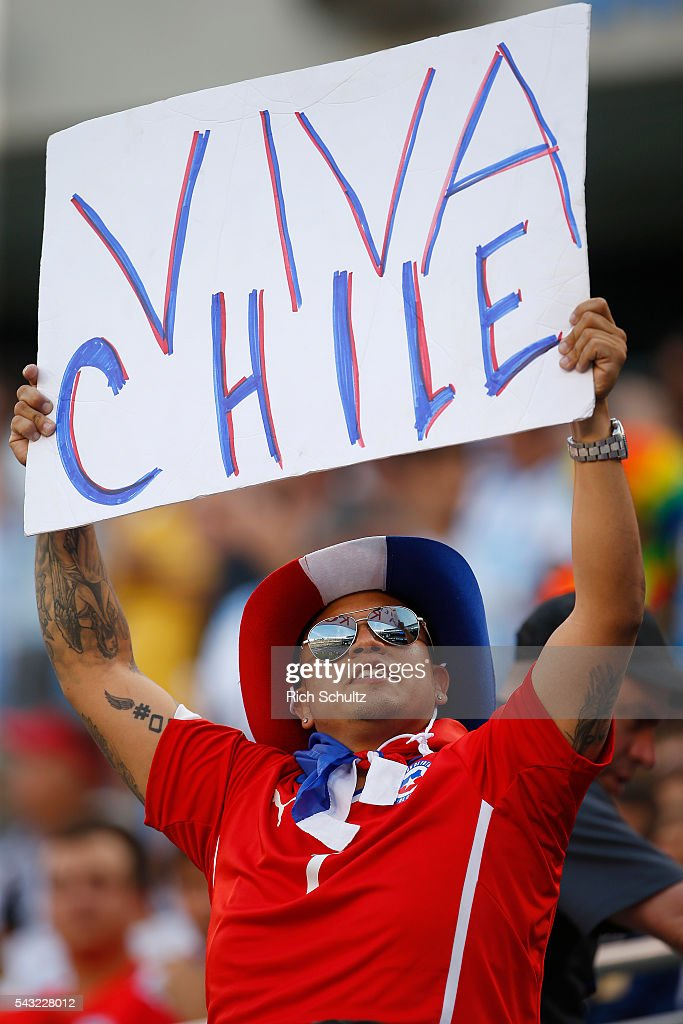 A supporter of Chile holds up a sign before the championship match between Argentina and Chile at MetLife Stadium as part of Copa America Centenario US 2016 on June 26, 2016 in East Rutherford, New Jersey, US.